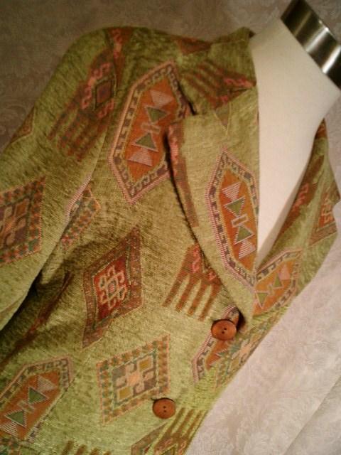 Vintage Henri Bendel New York tapestry velvet brocatelle green blazer (7)