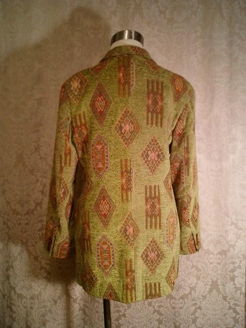 Vintage Henri Bendel New York tapestry velvet brocatelle green blazer (8)