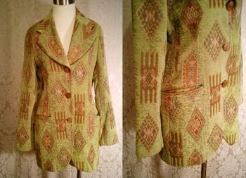 Vintage Henri Bendel New York tapestry velvet brocatelle green blazer (11).JPG