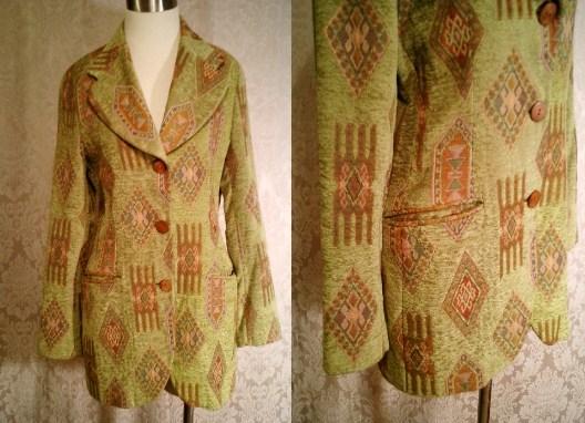 Vintage Henri Bendel New York tapestry velvet brocatelle green blazer (11).JPG