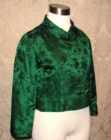 Vintage 1960s emerald green silk brocade two piece cocktail dress suit bolero jacket cut out back & bows (4)