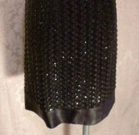 1950s Vintage Black Ribbon Lace & Sequin Wiggle Bombshell Cocktail Dress (2)