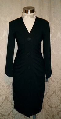 1990s Lady M black ruched front cocktail dress Made in USA (3)