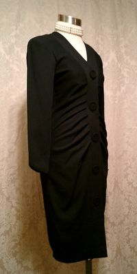 1990s Lady M black ruched front cocktail dress Made in USA (7)