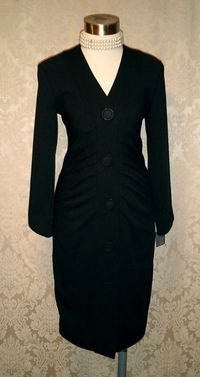 1990s Lady M black ruched front cocktail dress Made in USA (9)