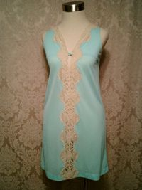 Vintage 1960s Emilio Pucci for Formfit Roger Aqua Blue Nude Lace Nighty (3)