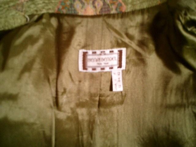 Vintage Henri Bendel New York tapestry velvet brocatelle green blazer (10)