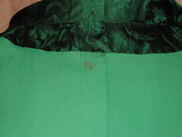 Vintage 1960s emerald green silk brocade two piece cocktail dress suit bolero jacket cut out back & bows (13)