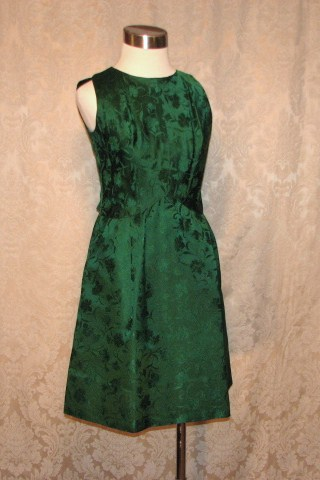 Vintage 1960s emerald green silk brocade two piece cocktail dress suit bolero jacket cut out back & bows (12)