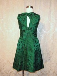 Vintage 1960s emerald green silk brocade two piece cocktail dress suit bolero jacket cut out back & bows (3)