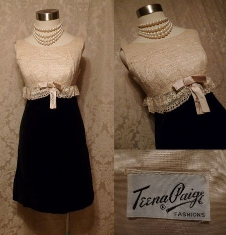 1950s vintage Teena Paige Black Velvet & Ivory Lace Bodice Dress
