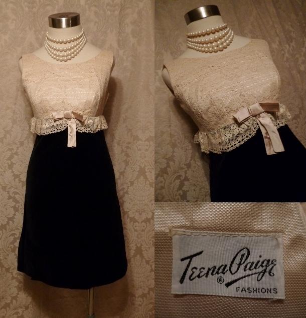 1950s vintage Teena Paige Black Velvet & Ivory Lace Bodice Dress