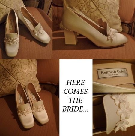 Kenneth Cole ivory satin bridal pumps floral detail