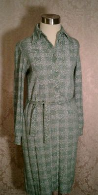 Vintage Gino Paoli green & silver metallic sweater dress made in italy (2)