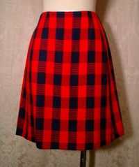 1960s vintage mod red & navy blue checkerboard print coat & skirt ensemble (6)