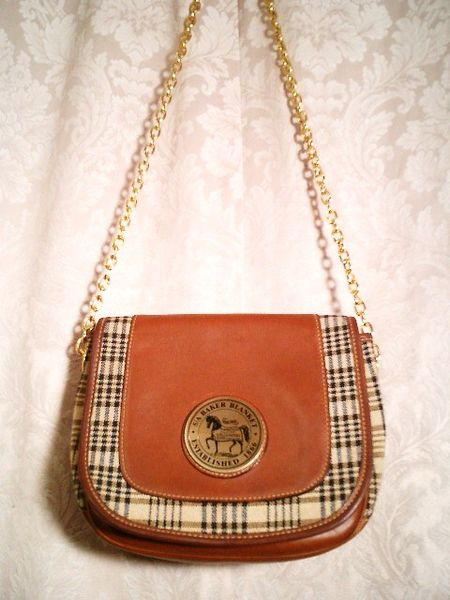 5A Baker Blankets sheet plaid leather shoulder bag (4)
