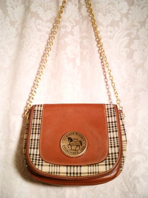 5A Baker Blankets sheet plaid leather shoulder bag (4)