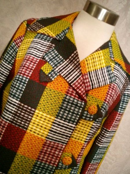 1960s vintage gold red green plaid checker board dress & blazer suit (4)
