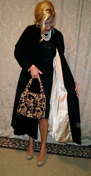 1950s Dan Millstein black velvet embroidered evening coat  (2)