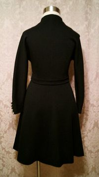 Vintage 1960s black wool knit dress zip front Filene's Plaza label (10)