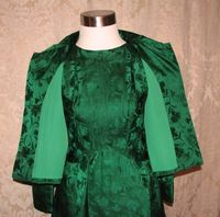 Vintage 1960s emerald green silk brocade two piece cocktail dress suit bolero jacket cut out back & bows (21)