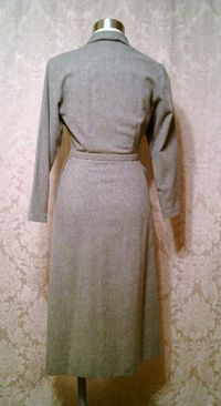 1940s vintage dress grey wool embroidered collar off center buttons jpg