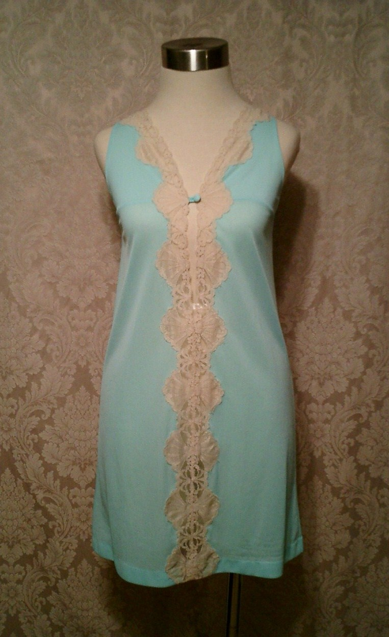 Vintage 1960s Emilio Pucci for Formfit Roger Aqua Blue Nude Lace Nighty (2)