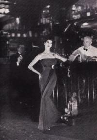 Fath's Empire line in taupe chiffon Harper's Bazaar Sept 1953 taken @ Maxim's.