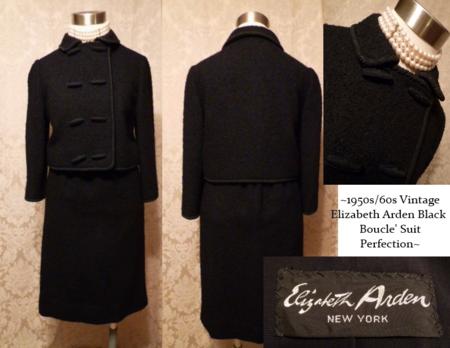 Elizabeth Arden 1950s 60s Black Boucle Suit