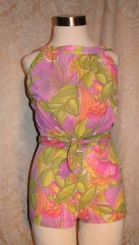 Vintage 1960s Haute Couture Collection Sea Queen bathing swim suit lavender lime floral  (2)