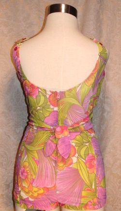Vintage 1960s Haute Couture Collection Sea Queen bathing swim suit lavender lime floral  (5)