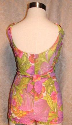 Vintage 1960s Haute Couture Collection Sea Queen bathing swim suit lavender lime floral  (5)