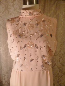 1960s vintage blush pink peach beaded two piece overlay dress  (9)