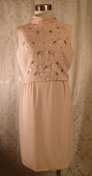 1960s vintage blush pink peach beaded two piece overlay dress  (6)