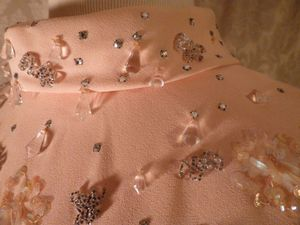 1960s vintage blush pink peach beaded two piece overlay dress  (11)
