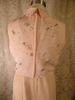 1960s vintage blush pink peach beaded two piece overlay dress  (12)