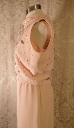1960s vintage blush pink peach beaded two piece overlay dress  (14)