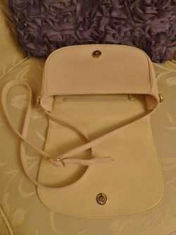 Vintage Christian Dior Blush Ivory Cross Over Shoulder Bag  inside