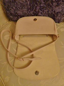 Vintage Christian Dior Blush Ivory Cross Over Shoulder Bag  inside
