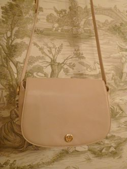 Vintage Christian Dior Pale Pink Ivory Leather cross body shoulder bag (2)
