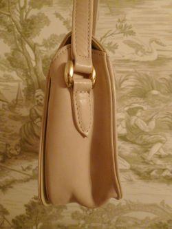 Vintage Christian Dior Pale Pink Ivory Leather cross body shoulder bag (5)