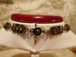 Vintage Banana Bob Bold Brass & Rhinestone Teardrop Pendant 18 inch necklace (6)