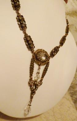 Vintage Banana Bob Bold Brass & Rhinestone Teardrop Pendant 18 inch necklace (7)