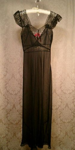 1940's bias cut sheer black lace nightgown pink bow (11)