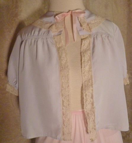 1940s Lingerie by Debutante lavender blue  silk & lace boudoir bed jacket (13)