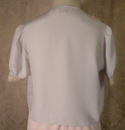 1940s Lingerie by Debutante lavender blue  silk & lace boudoir bed jacket (15)