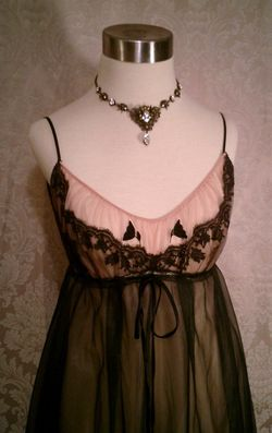 1960s black on nude illusion neckline sheer long nightgown  (2)