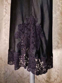 1930-40s Heavenly Silk Lingerie by Fischer Pure Silk Black half slip side zipper lace trim (9)
