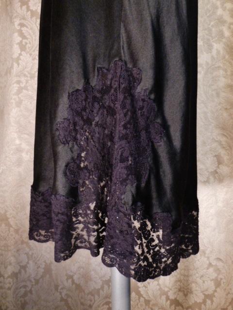 1930-40s Heavenly Silk Lingerie by Fischer Pure Silk Black half slip side zipper lace trim (9)