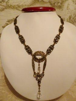 Vintage Banana Bob Bold Brass & Rhinestone Teardrop Pendant 18 inch necklace (2)